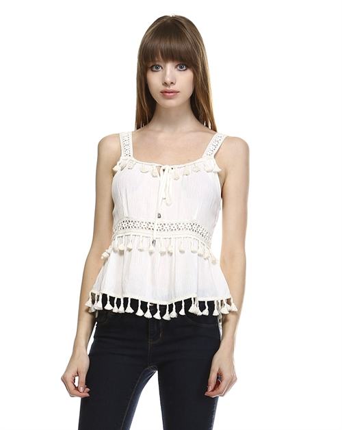 TASSEL TRIM PEPLUM TOP - orangeshine.com