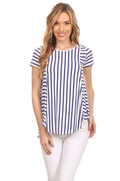 Stripe short sleeve top - orangeshine.com