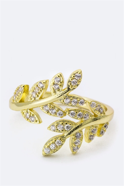 Cubic Zirconia Leaf Ring - orangeshine.com
