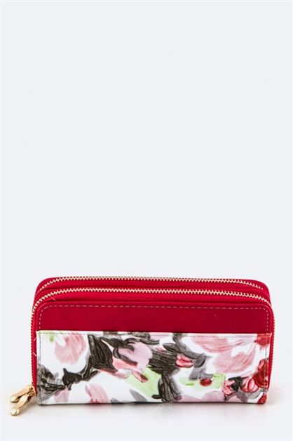 Watercolor Flower Wrist Wallet - orangeshine.com
