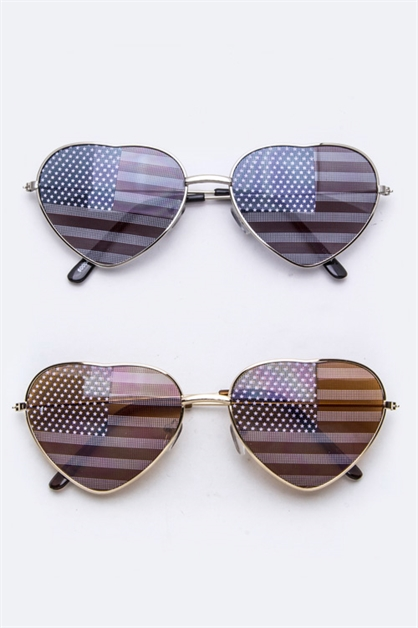 US Flag Lens Heart Sunglasses - orangeshine.com