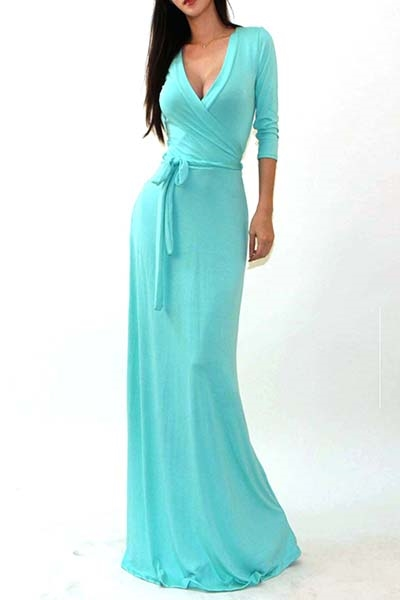 3/4 SLEEVE SOLID MAXI DRESS - orangeshine.com