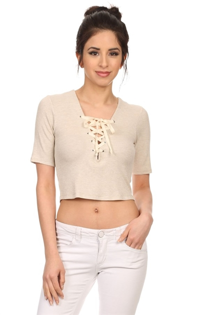 Laced up cropped top - orangeshine.com