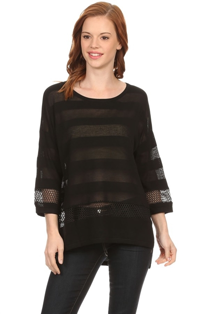 MESH STRIPE 3/4 SLEEVE TOP - orangeshine.com