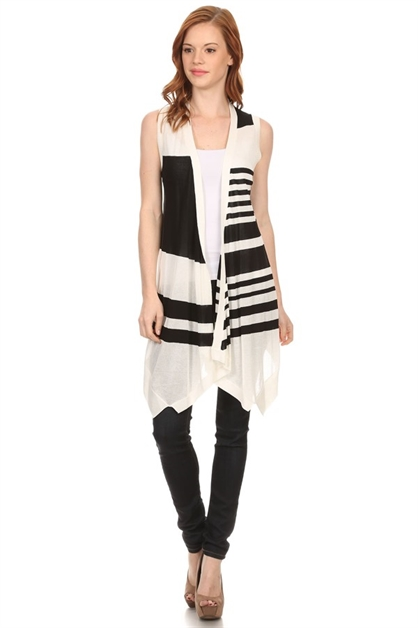 STRIPED SEMI SHEER KNIT VEST - orangeshine.com