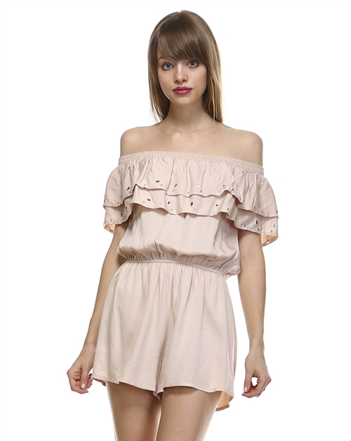 LAYERED OFF SHOULDER ROMPER - orangeshine.com