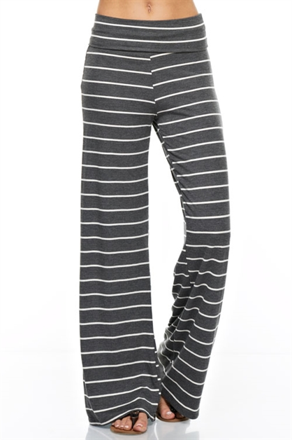 Stripe Wide Casual Pants - orangeshine.com