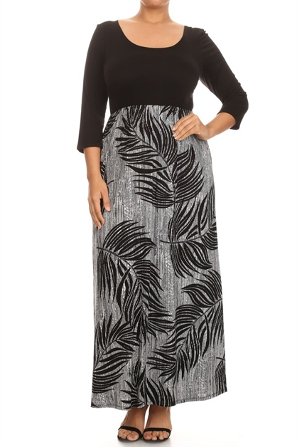 Solid/Leaf Print Maxi Dress - orangeshine.com
