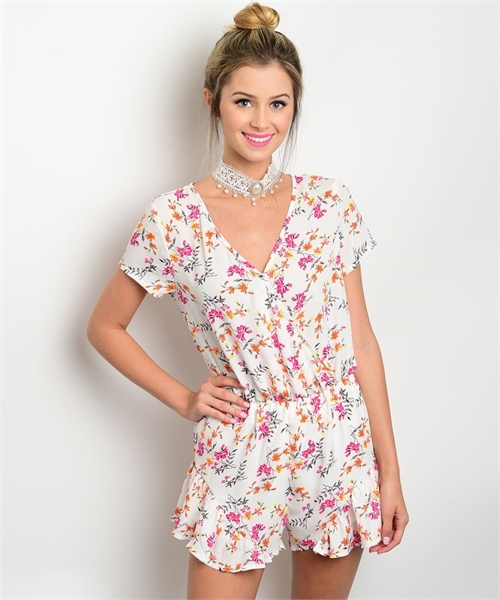 IVORY WITH FLOWER ROMPER - orangeshine.com