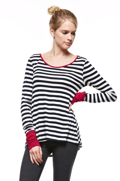 Long Sleeves Striped Top with - orangeshine.com