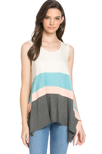 Color Blocked Sleeveless Top - orangeshine.com