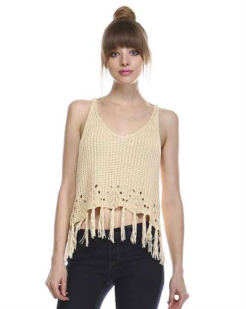 FRINGE CROCHET TANK CROP TOP - orangeshine.com