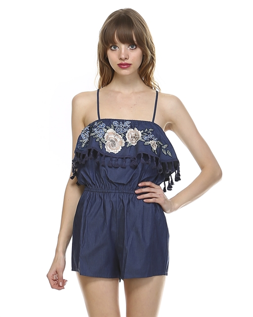 BARE SHOULDER FLORAL ROMPER - orangeshine.com