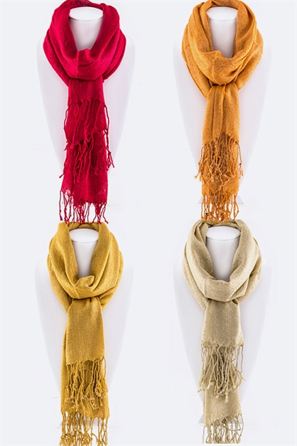 Fringe Lurex Fashion Scarf - orangeshine.com