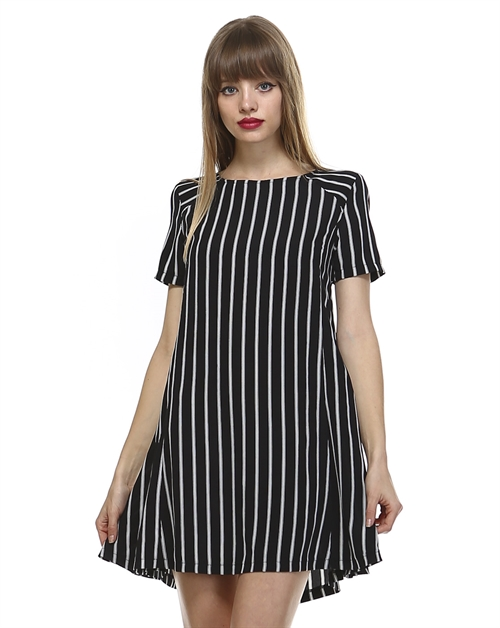 STRIPED SKATER WOVEN DRESS - orangeshine.com
