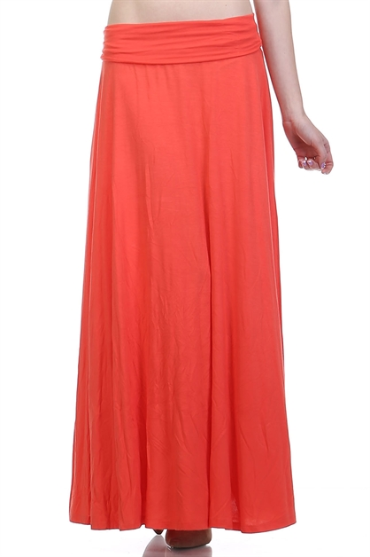 SOLID RUCHED ACCENT MAXI SKIRT - orangeshine.com