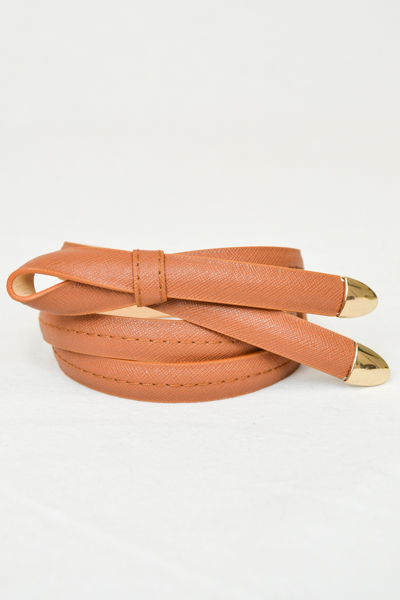 SKINNY SAFFIANO LEATHER BELT - orangeshine.com