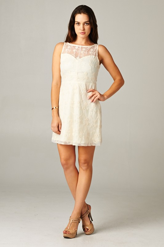 Floral Embroidered Layer Dress - orangeshine.com