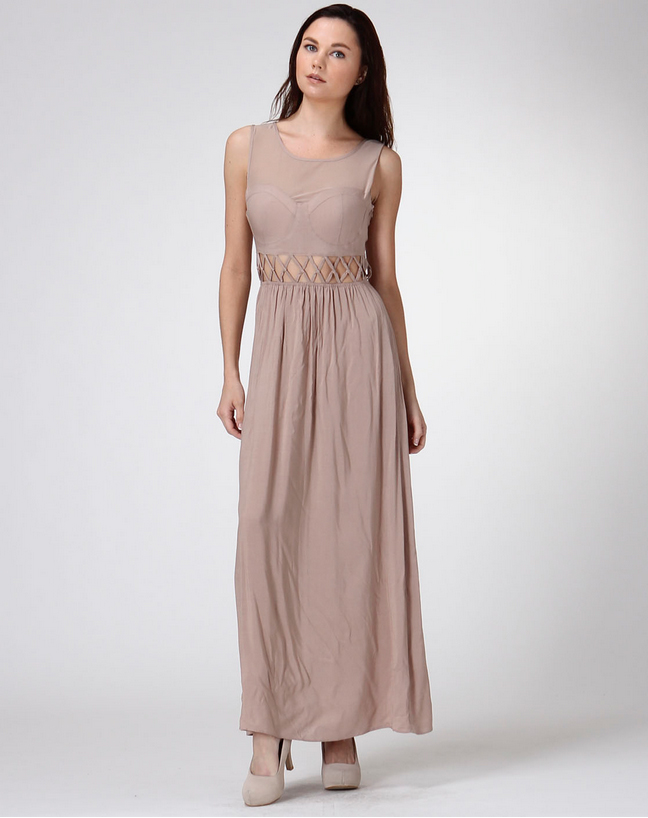 Lace-Up Bustier Maxi Dress - orangeshine.com