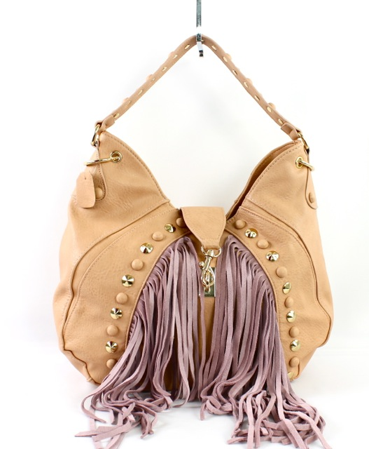 STUDDED FRINGE HOBO BAG - orangeshine.com