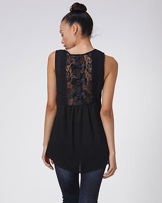 SOLID TOP W/ BACK LACE & BOWS - orangeshine.com