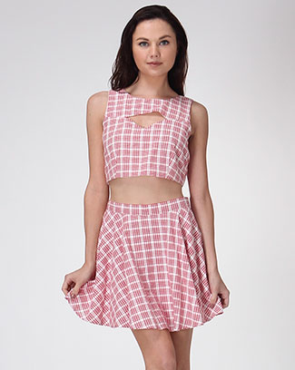 PLAID PEEKABOO TOP - orangeshine.com