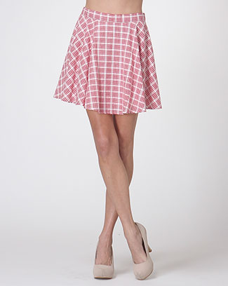 CHECKER PRINT FLARE SKIRT - orangeshine.com