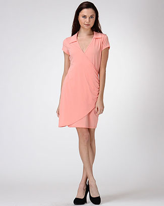 Shirt Collar Shirring Dress - orangeshine.com