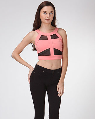 Mesh Cutout Top - orangeshine.com