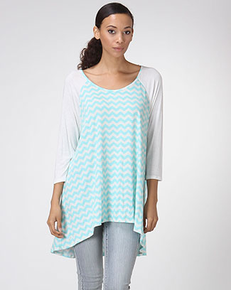 3/4 SLEEVE ZIG ZAG PRINT TOP - orangeshine.com