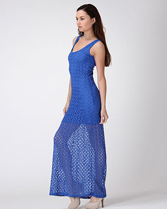 Crochet Lace Maxi Dress - orangeshine.com