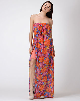 Rose Print Slit Maxi Dress - orangeshine.com