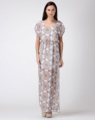 Ethnic Print Maxi Dress - orangeshine.com