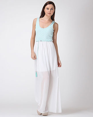 Belted Combo Maxi Dress - orangeshine.com