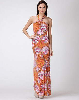 Baroque Print Halter MaxiDress - orangeshine.com