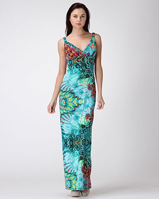 Peacock Print Maxi Dress - orangeshine.com