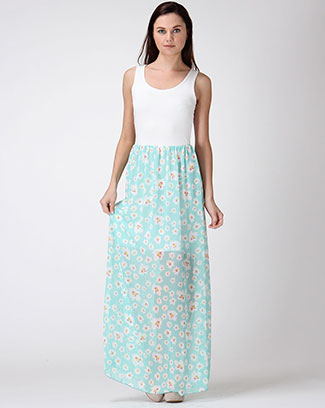 Floral Chiffon Maxi Dress - orangeshine.com