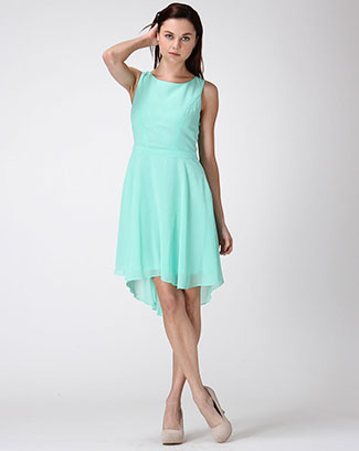 CHIFFON DRESS W/PLEATED BACK &BOW - orangeshine.com