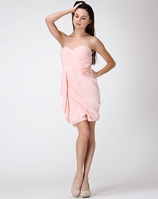 PLEATED STRAPLESS DRESS - orangeshine.com