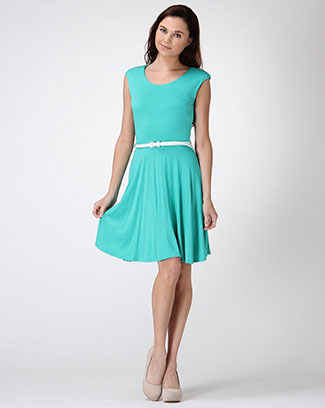 Scoop Neck dress w/ belt - orangeshine.com