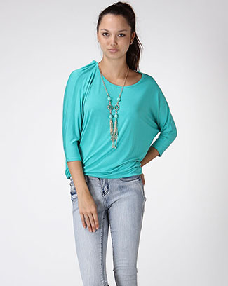 3/4 sleeve top w/ necklace - orangeshine.com