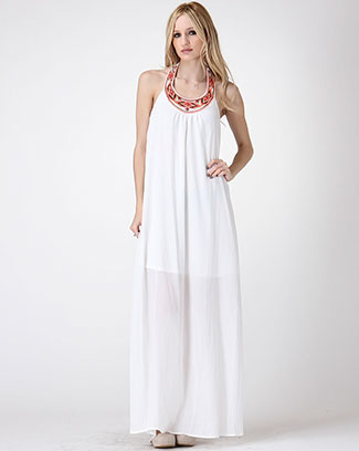 NECK EMBROIDERY MAXI DRESS - orangeshine.com