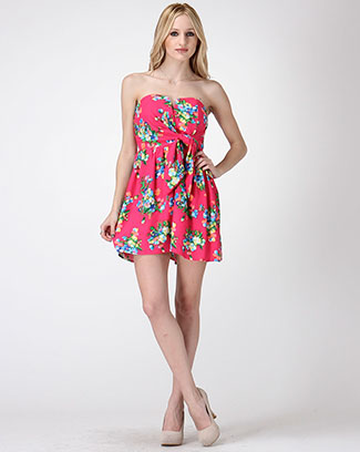 Floral Print Draping  Dress - orangeshine.com