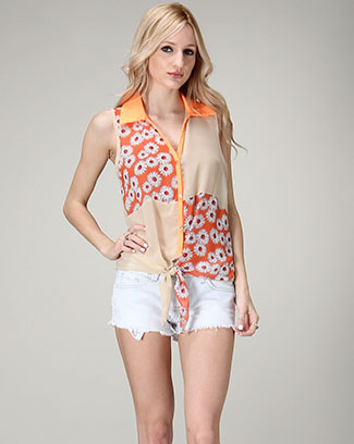 Front-Tie Shirt Collar Blouse - orangeshine.com