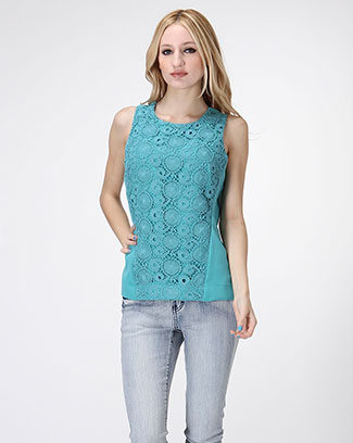FLORAL LACE OVERLAY TOP - orangeshine.com