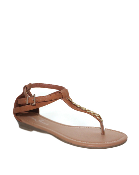 T STRAP THONG SANDAL WITH GOLD CHAIN - orangeshine.com