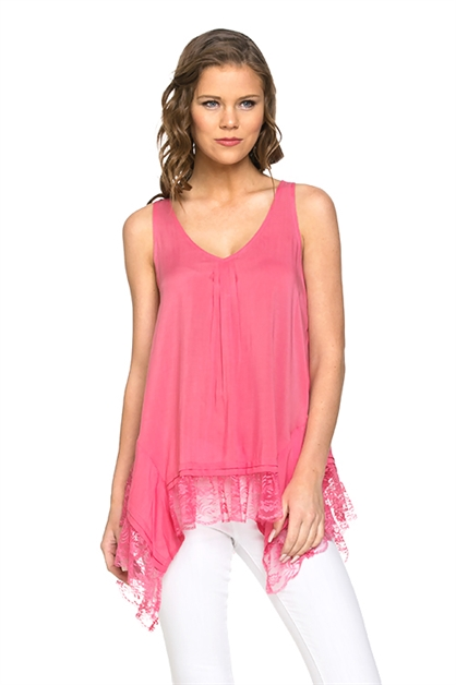 Lace Ruffle Hem Top - orangeshine.com