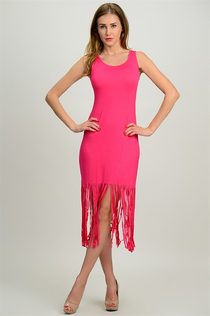 TANK DRESS W FRINGE HEM - orangeshine.com