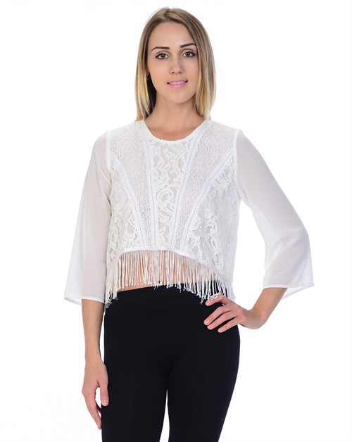SOLID LACE FRINGE HEM TOP - orangeshine.com