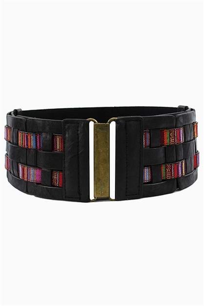 TRIBAL STRIPED WIDE BELT - orangeshine.com